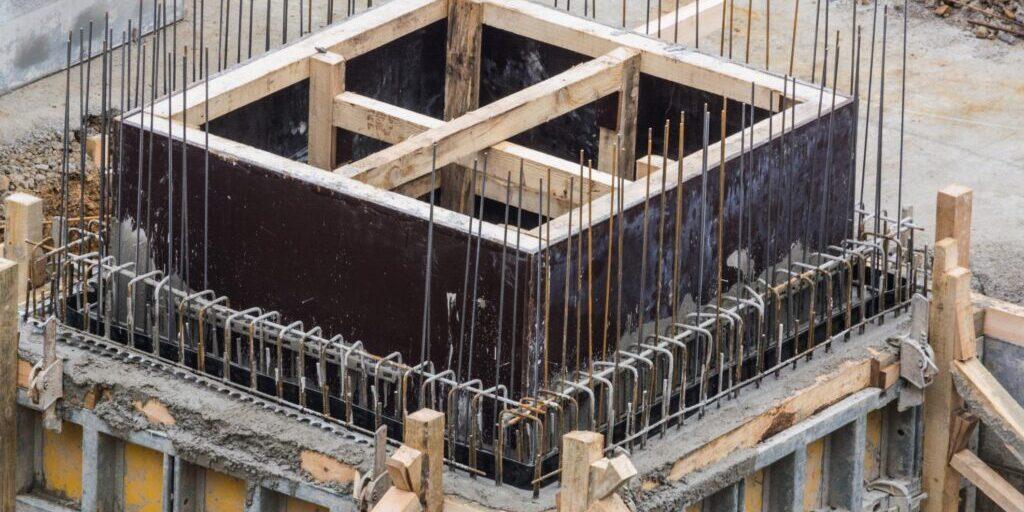 under construction concrete foundation